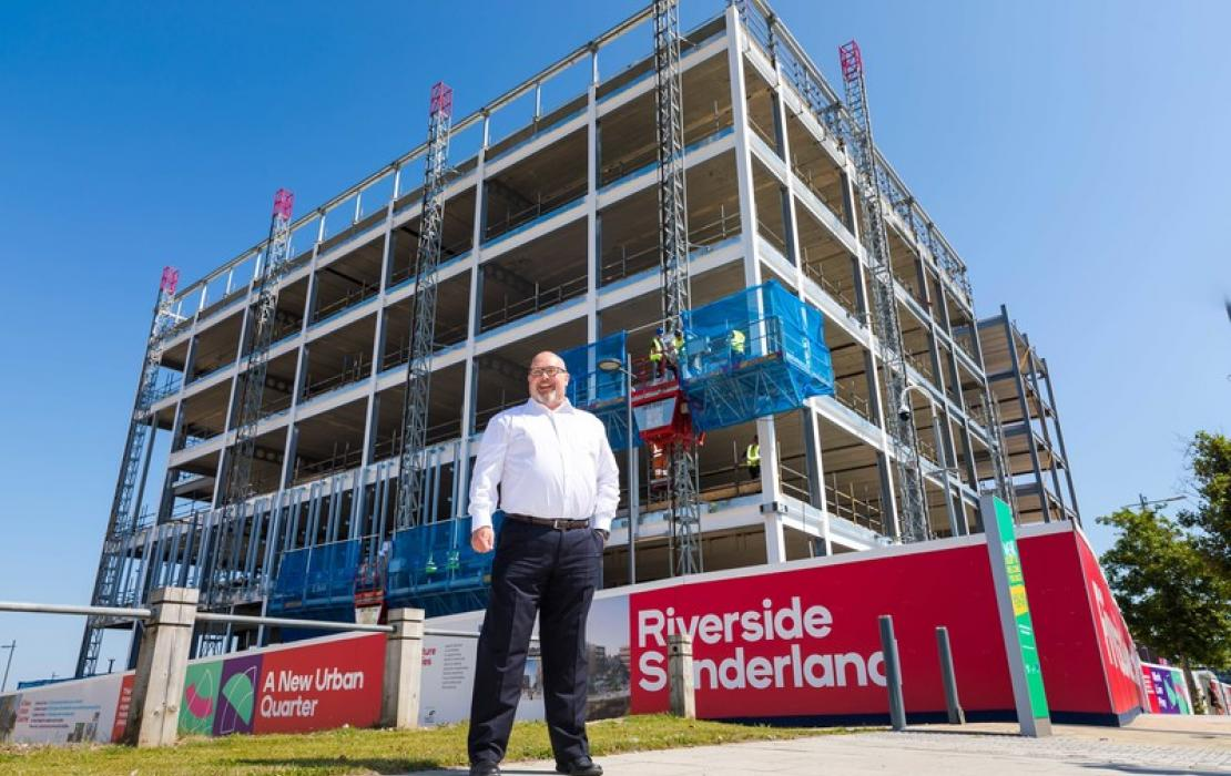 Leader of Sunderland City Council, Councillor Graeme Miller at City Hall construction site Riverside Sunderland, August 2020