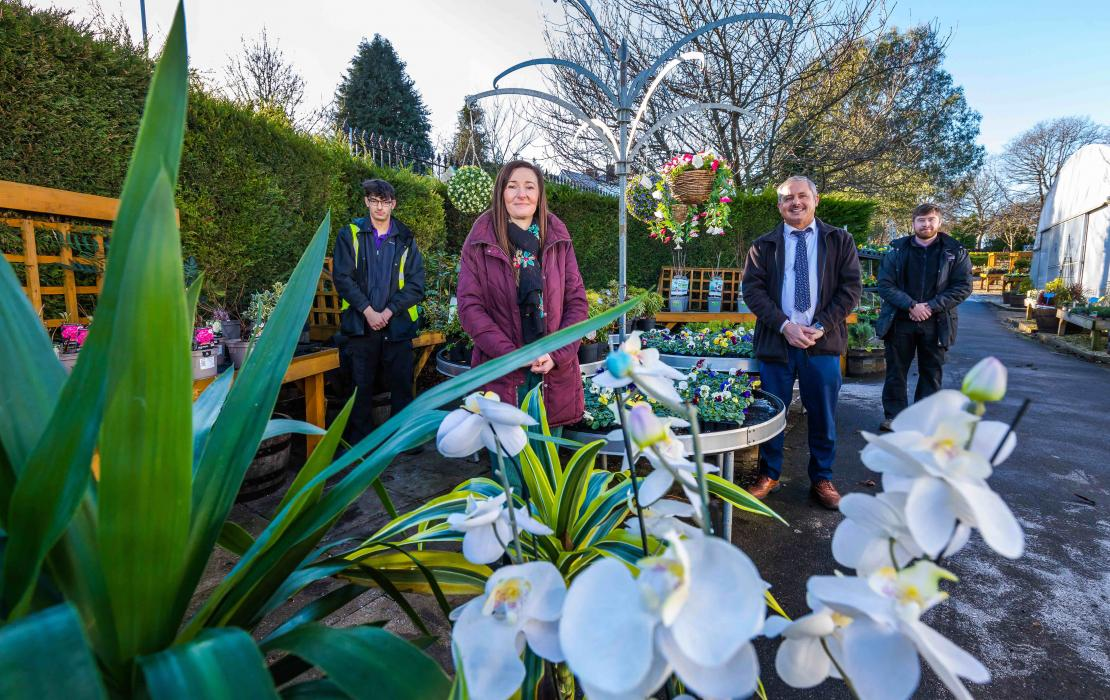 (l-r) Landscape gardener James Almond, assistant manager Nicola McDonald, managing director Shaun Donnelly and landscape gardener Cary Robson.